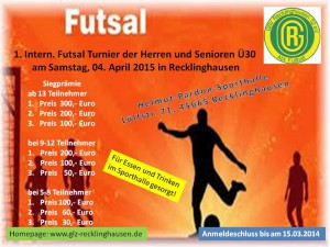 Einladung Futsal-Turnier am 04.04.2015 in RE - Plakat